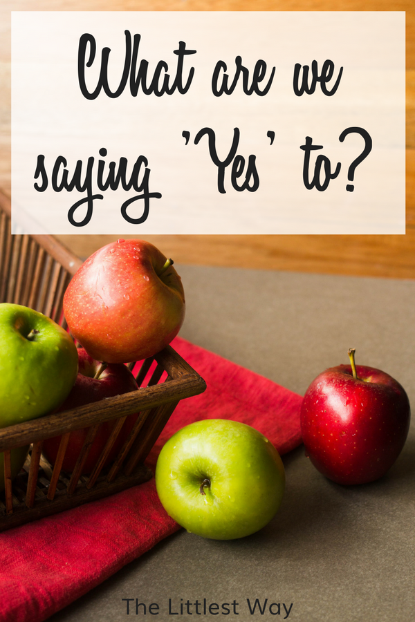 """Lent Devotional for Women with a basket of apples asking the questions, """"What are we saying yes to?"""""""
