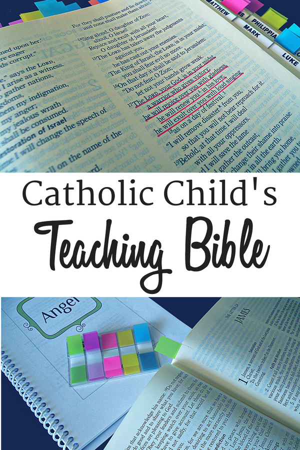 Catholic Child's Bible with highlighted text and colorful tabs.